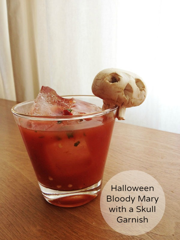 BLOODY MARY WITH A SKULL GARNISH - the Sunday Brunch staple gets a little Halloween facelift with a skull made out of what else... a MUSHROOM! That's a great cure for a hangover, don't you think?