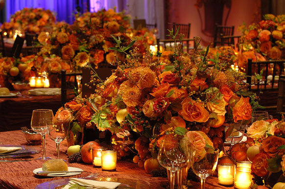 Autumn inspired centerpieces  - Preston Bailey leaves no stone un-turned with his exquisite floral creations and this homage to fall with his rich orange, pale yellow, crimson and chartreuse palette. Stunning!