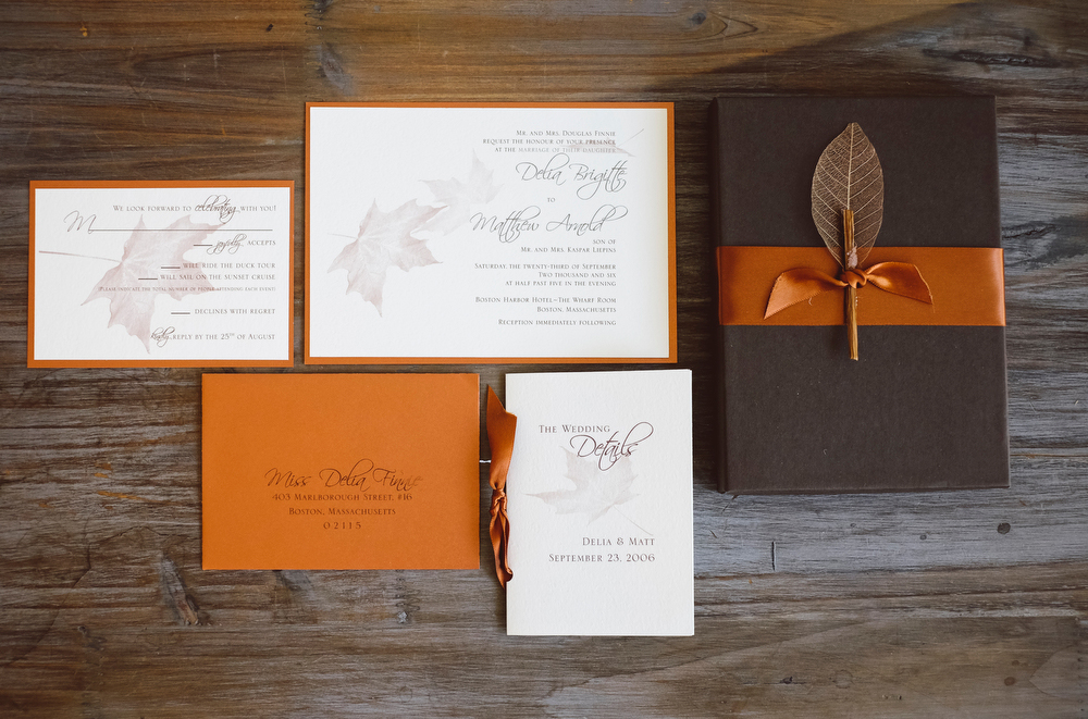 Autumn Leaves Wedding Invitation Box Set  - We designed this custom invitation set for a lovely couple using a chocolate brown box lined with suede paper and designed the pieces in copper, chocolate and ivory.
