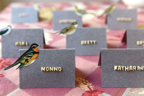 Alphabet Soup Letter Place Card  - How many times as a kid did you try and spell your name eating alphabet soup? I know I always tried. This brings out the kid in the adult and also delights the kid! We love the idea of keeping it simple or embellishing the card with a little sticker or artwork.