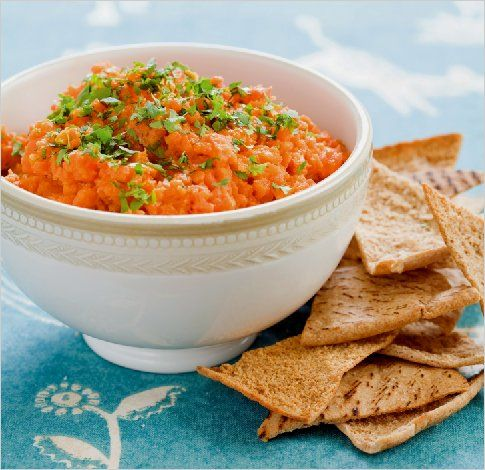 Moroccan Carrot Dip - This beautiful dip is also vegan and can be served with baked vegetable chips instead of crackers.