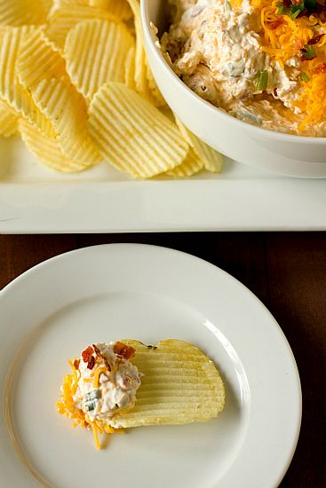 Loaded Baked Potato Dip - Potato chips and a dip are always popular for a gathering and this amped up dip will be sure to please your dips! Dig in!