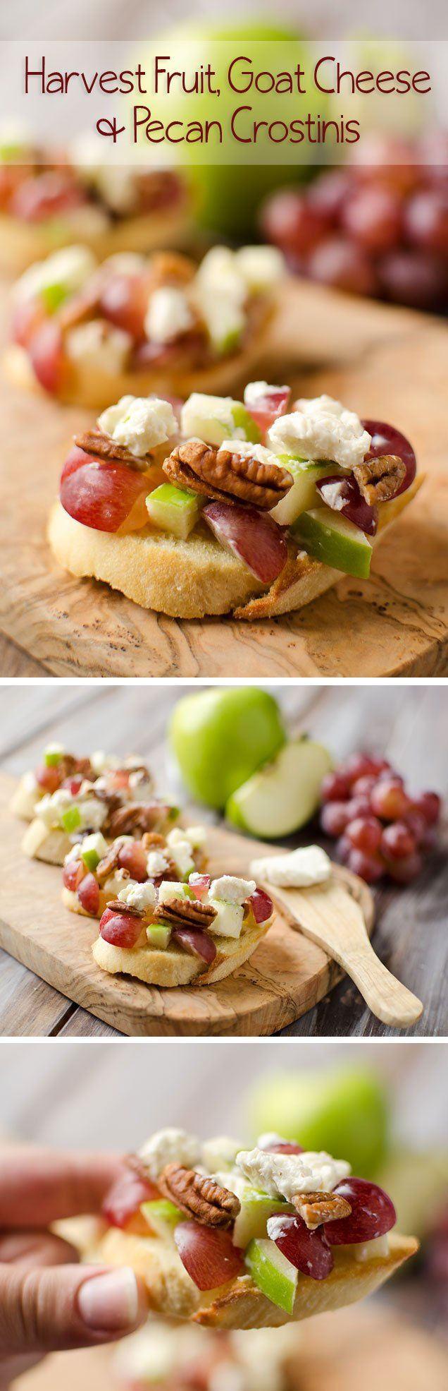 Harvest Fruit, Goat Cheese and Pecan Crostini - these crostini look so festive and are nice and light to start off a day of eating!