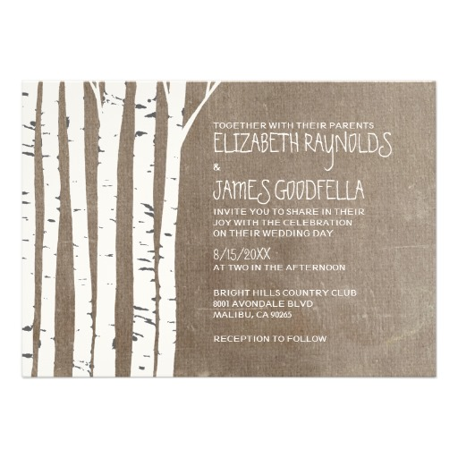 Birch Wedding Invitation  - This lovely designed invitation is a great way to introduce your simple and rustic wedding theme.