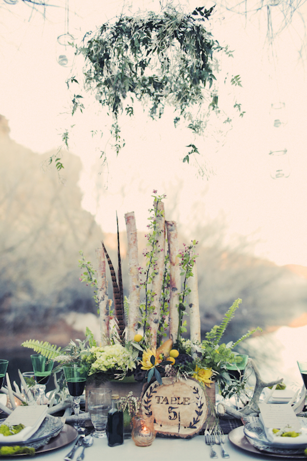 "Birch Tree Table Centerpiece  - We love the rustic styling of this tablescape. It almost looks like the table has been here all the time and the pieces just ""grew"" on it. I particularly love the tree trunk table number."