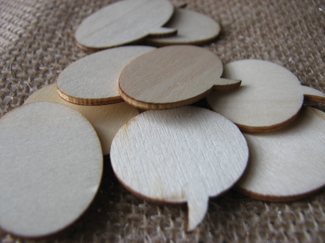 "Wood veneer ""talk bubbles"" which will be your ""turkey"