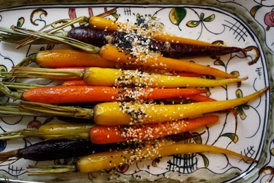 Roasted Rainbow Carrots with Miso Butter - I love the idea of carrots of different colors but I think this dish would be equally great with just one color of carrot. I love the idea of an umami rich miso butter verses another vegetable bathed in a sweet and sticky sugary sauce!