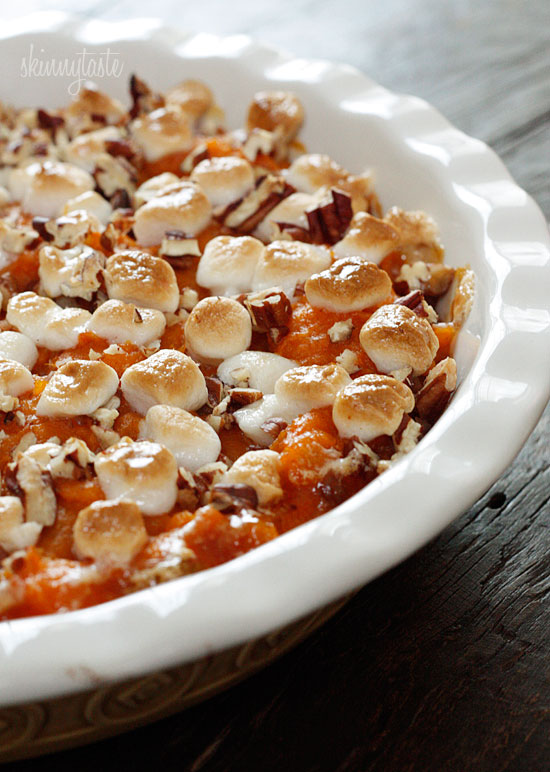 Gina's SkinnyTaste.com's Sweet Potato Casserole - Ahhh... the Sweet Potato Casserole with marshmallows is a crowd pleaser but also loves the hips and thighs! We love SkinnyTaste's version of this. You will still get all the joy and pleasure of the original version but you won't have to run the Boston Marathon after dinner to work it off!