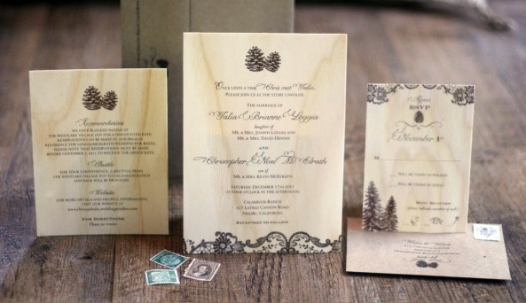 Pine Cone Wedding Invitation Set