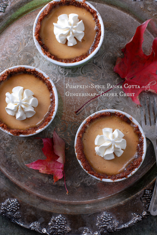 Pumpkin Spice Panna Cotta with Gingersnap Toffee Crust - These cute little desserts look like pies but there is something about Panna Cotta that is more light and airy and perfect after a heavy meal.