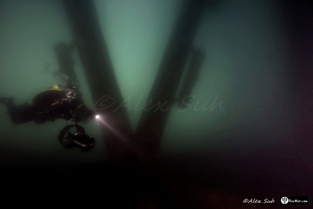 Tech Diver Under Eureka Oil Rig