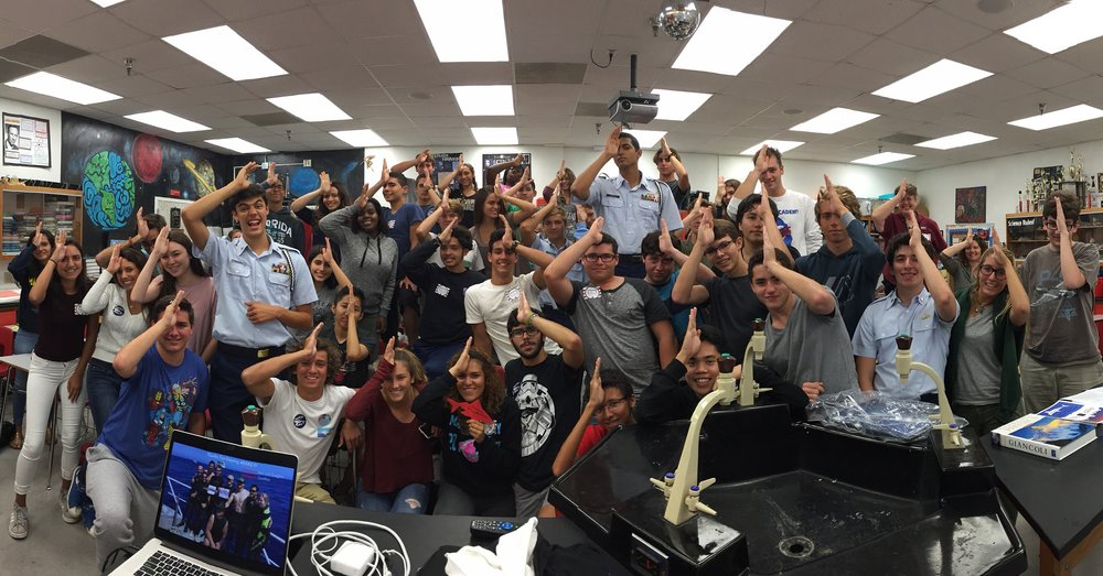 #SpenceTheShark with students at MAST High School in Florida after giving a presentation on Shark and Ocean Conservation