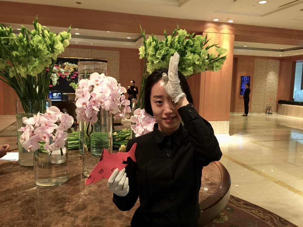 #SpenceTheShark with Florist at Lotte Hotel in Korea