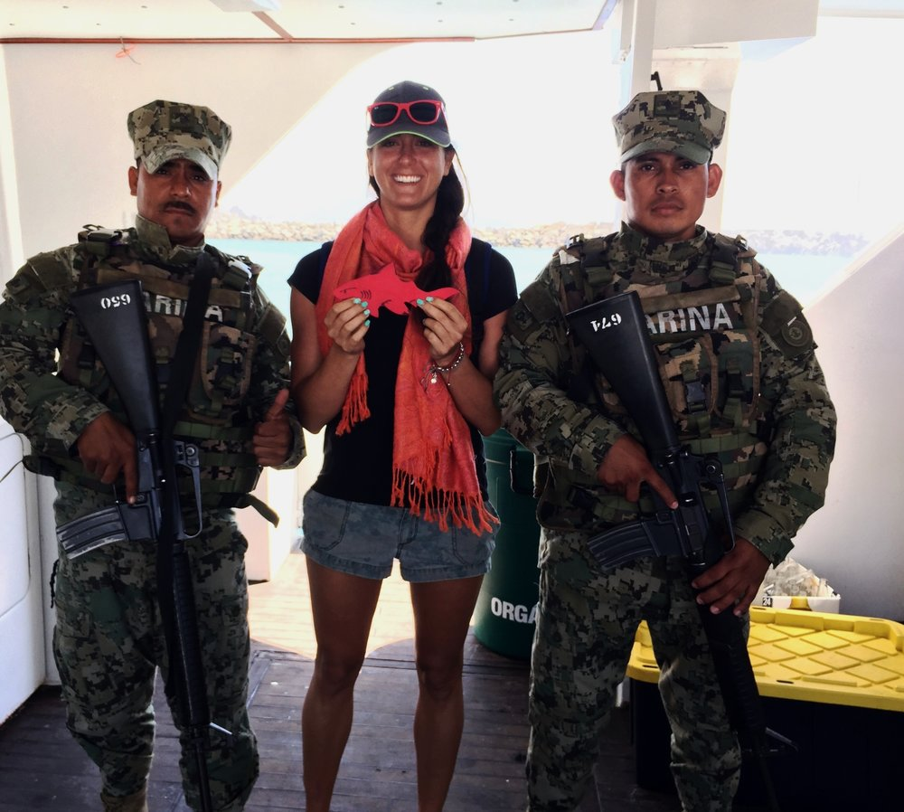 #SpenceTheShark with Mexican Marines and Christina Friscione Wysmann (Mermaid) after Great White Shark expedition