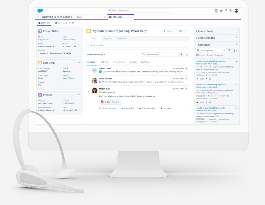 Service Cloud - Enhance your customer support — from call-center software to self-service portals — with more responsive, intuitive, and flexible service solutions that help you anticipate your customers' needs.
