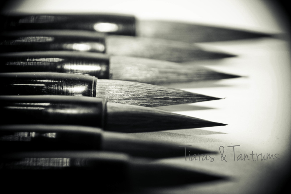 photo of seven sumi paint brushes