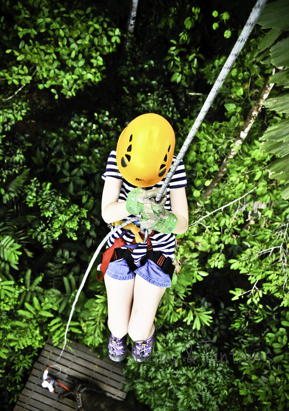 low angle photo repelling in costa rica