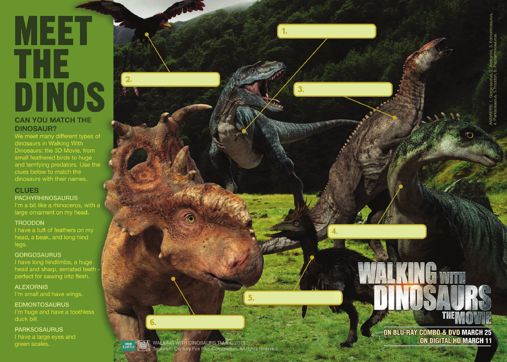 Walking With Dinosaurs Activity Sheets