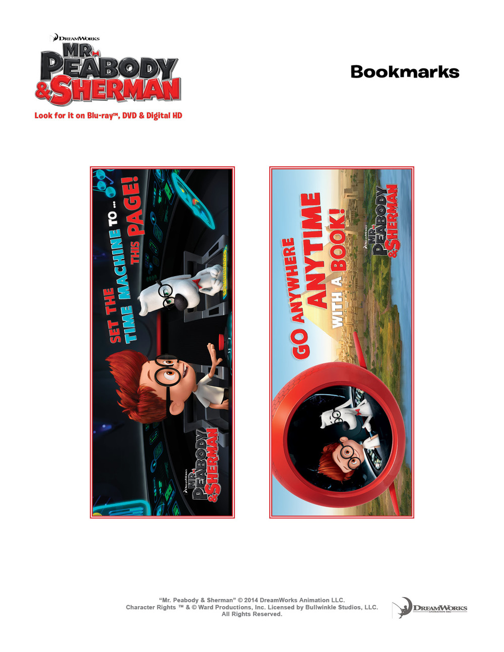 Mr Peabody & Sherman bookmark
