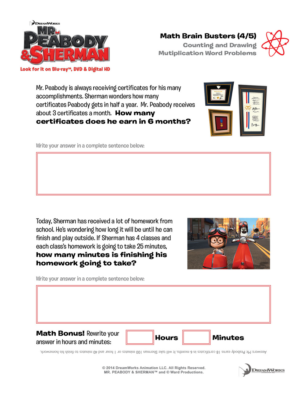 Mr Peabody & Sherman activity sheets