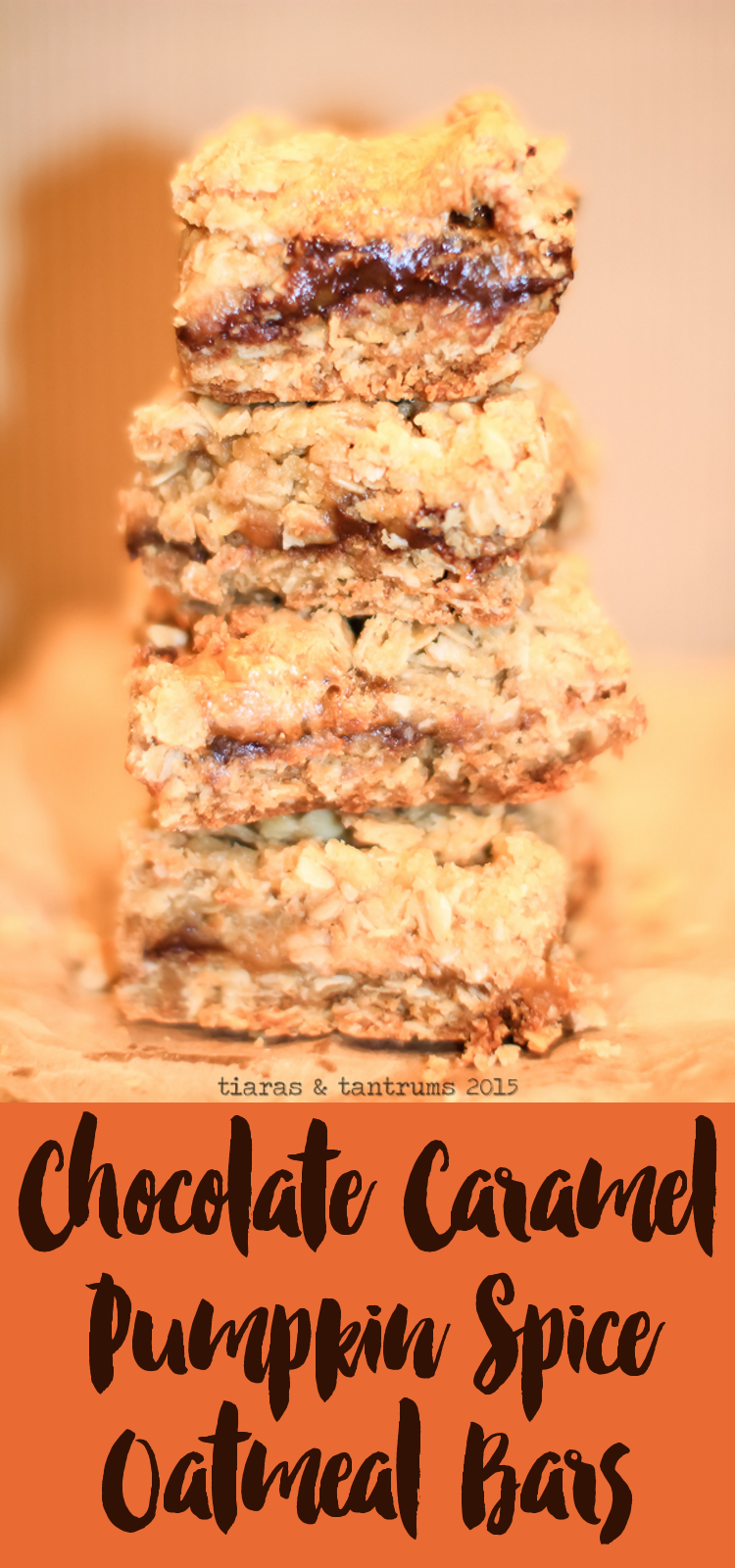 Chocolate Caramel Pumpkin Spice Oatmeal Bars #SweetenTheSeason