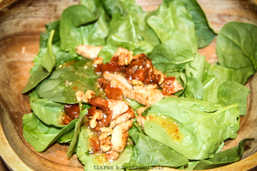 AD Spinach Salad with Goat Cheese, Bacon, Walnut and Warm Italian Dressing #OneBowlWonder