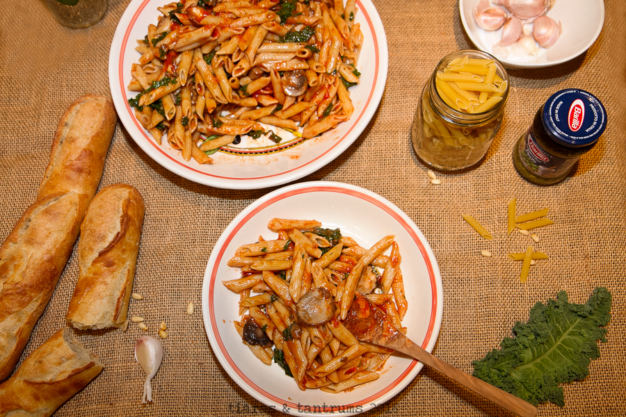 Pronto Penne Pasta with Kale & Mushrooms