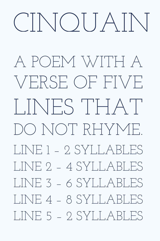 Writing Poetry Cinquain