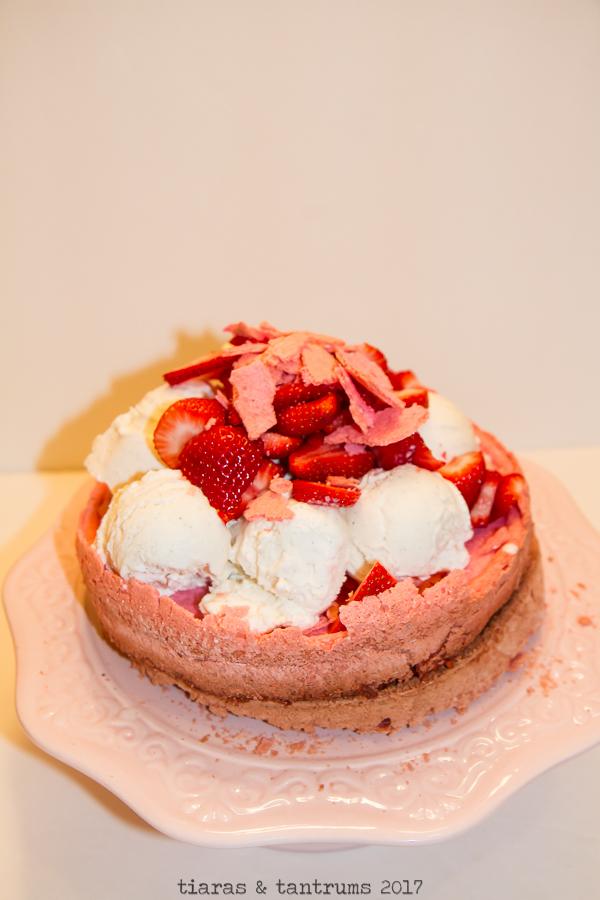 Strawberry Eggs-Capade Pavlova