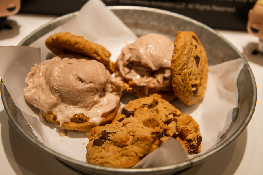 Peanut Butter Chocolate Chip Cookies with Homemade Chocolate Chocolate Chip Ice Cream