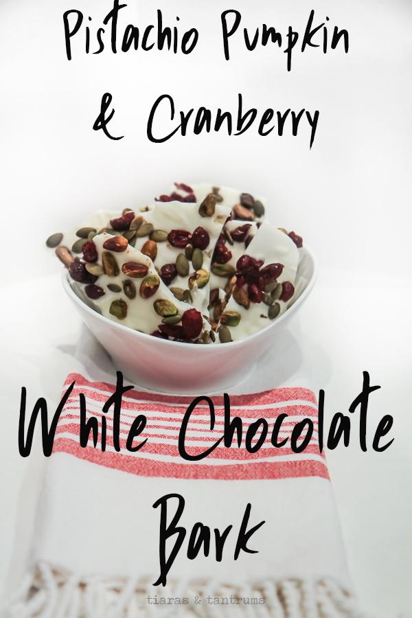 Pistachio, Pumpkin & Cranberry White Chocolate Bark