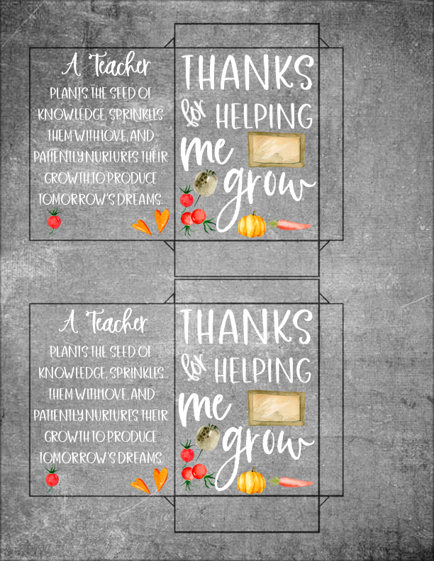 Teacher Appreciation Seed Packet Printable