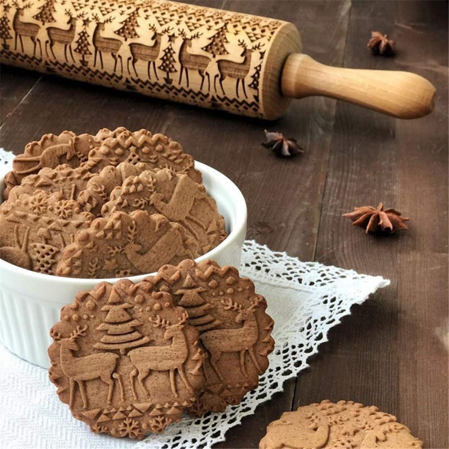 Amazing Gift Ideas Under $50 Embossed Christmas 3D Rolling Pin