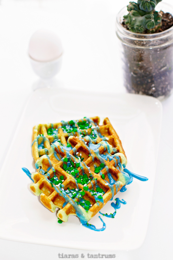 Green St Patrick's Day Waffles #waffles #stPatricksDayWaffles #StPatricksDay #GreenWaffles