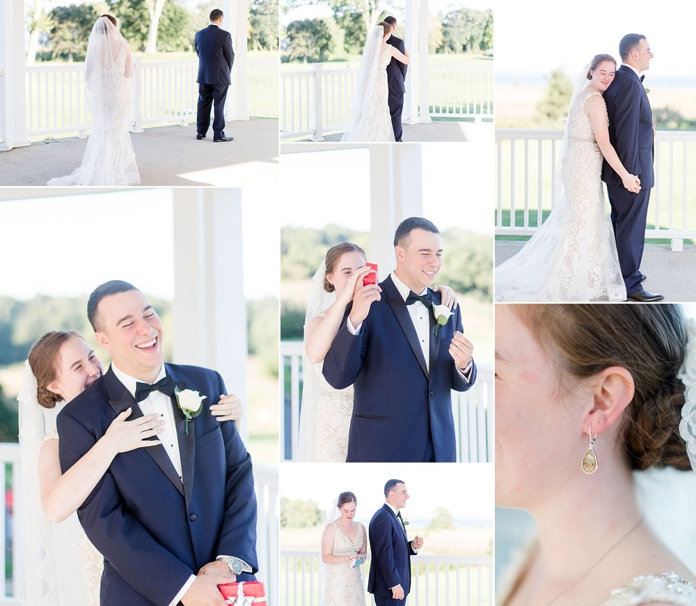 Chris & Danielle opted for a first moment where they didn't see eachother, but were still able to share a quiet moment with just the two of them. Danielle's Groom gifted her a pair of earrings to wear for their wedding. They were made with sand from one of their favorite beaches. How sweet? Venue: Quidnessett Country Club, North Kingstown, RI