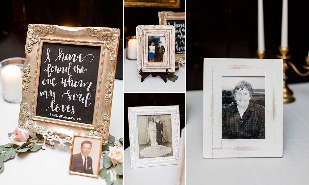 Personal framed photos paired with a hand lettered script on this memorial table was the sweetest touch.