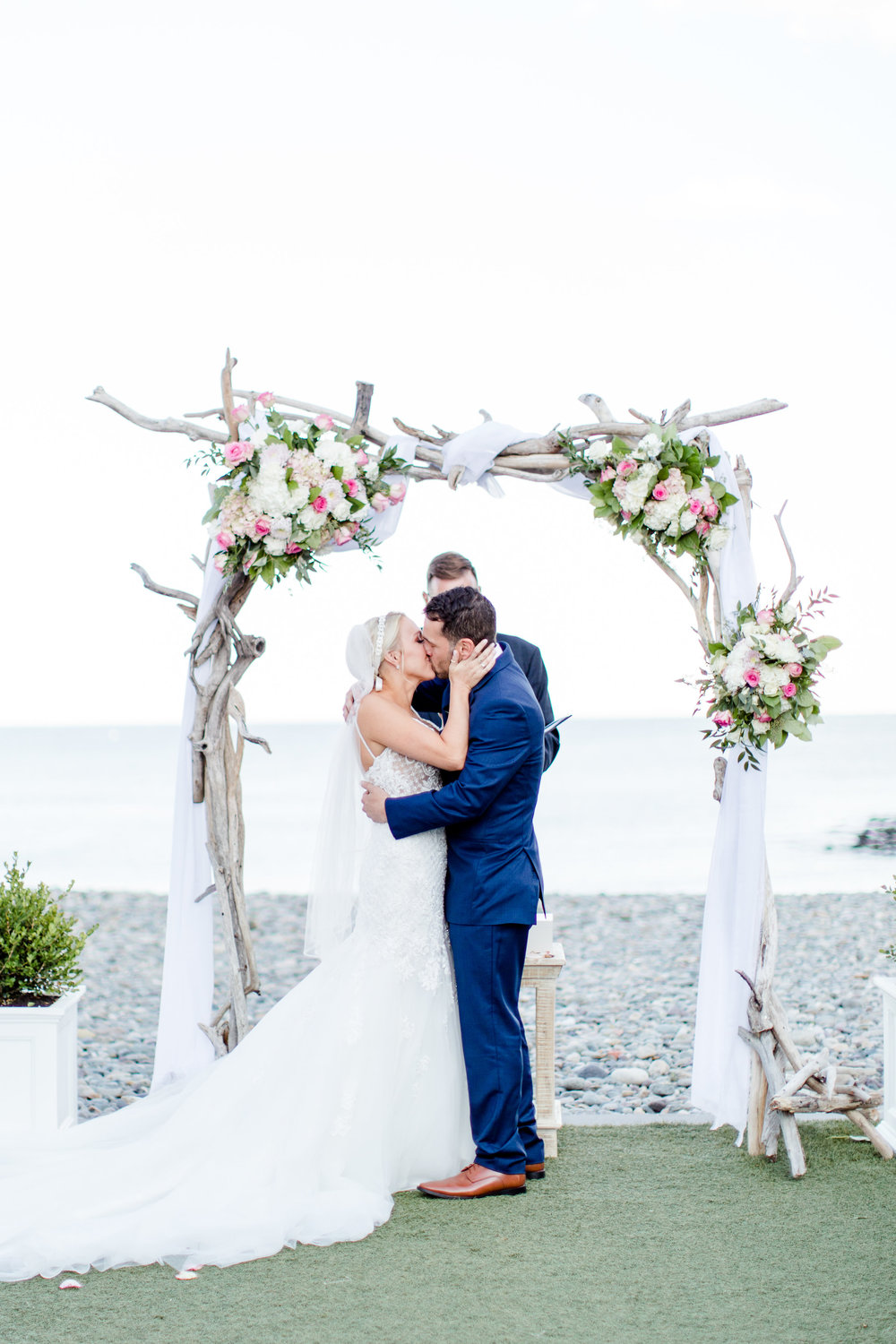 """Stephanie + Brian moments after saying """"I do"""" at their Oceanview of Nahant wedding (Nahant, MA)"""
