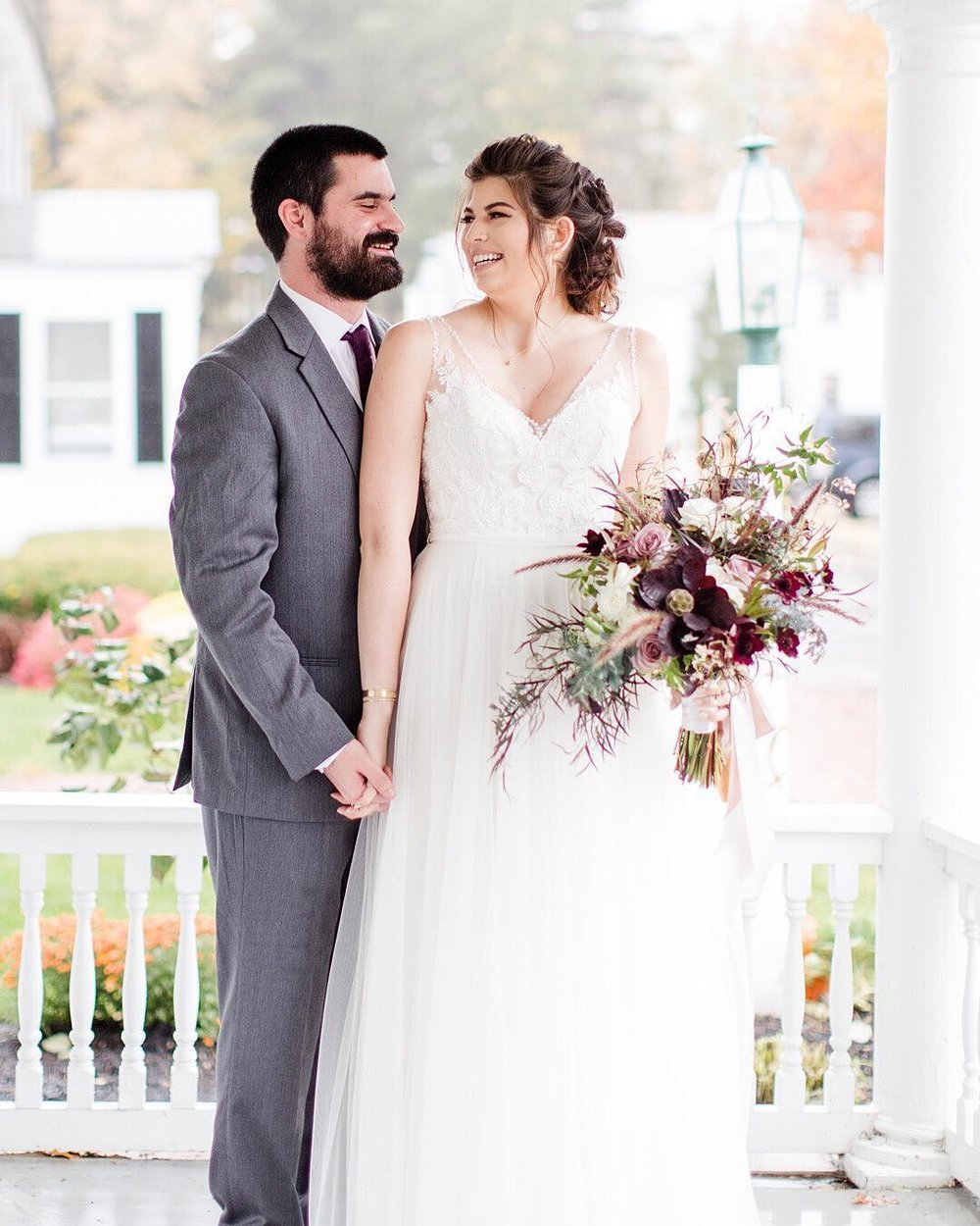 Samantha + Ryan share a laugh during their portrait session during their wedding at Publick House Historic Inn (Sturbridge, MA)