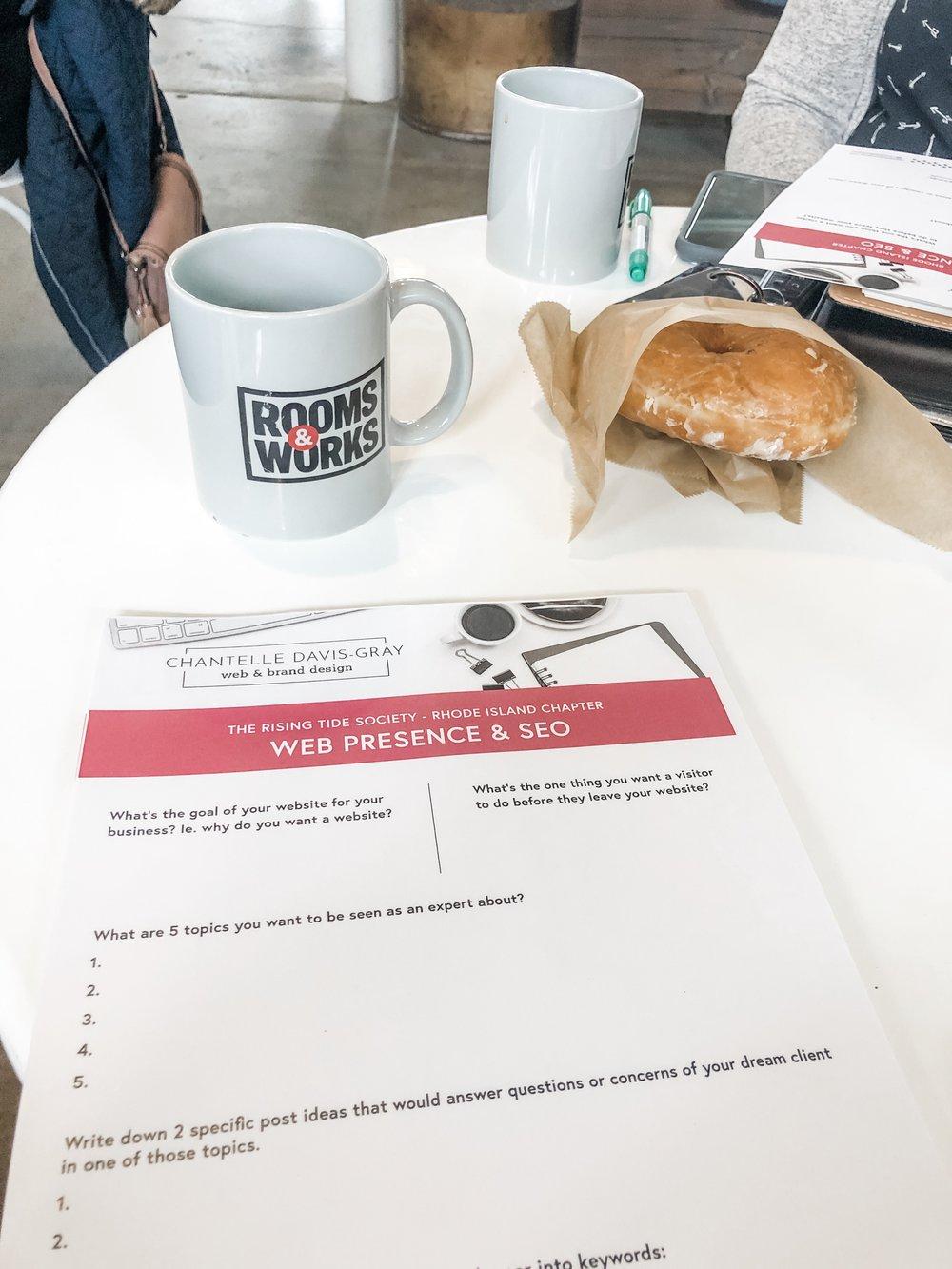 Chantelle's worksheet + coffee + a vegan Knead Doughnut made for a great meet-up!