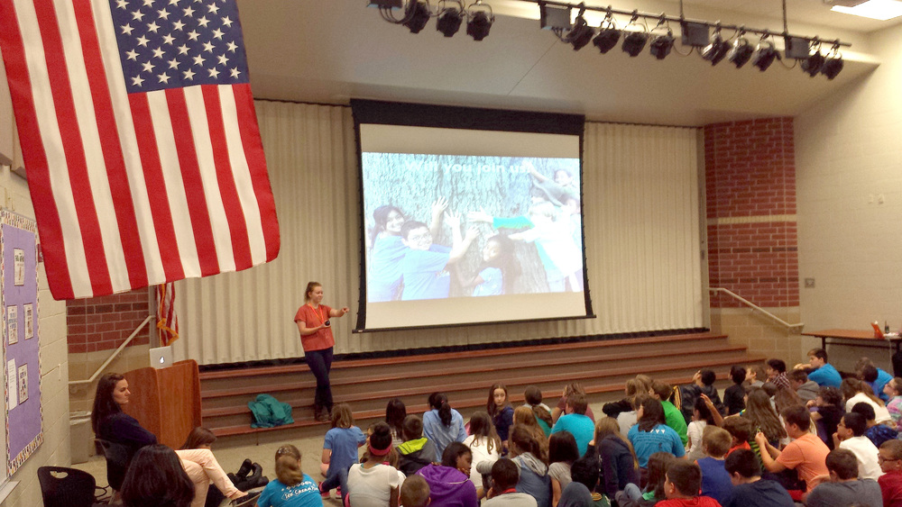 By May, 2016, youth leader Molly Denning began to visit area schools to talk to kids about climate change and climate recovery. Here is Molly at Noblesville's Promise Road Elementary.