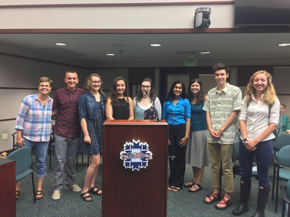Students from three high schools presented to the Bloomington Commission on Sustainability.