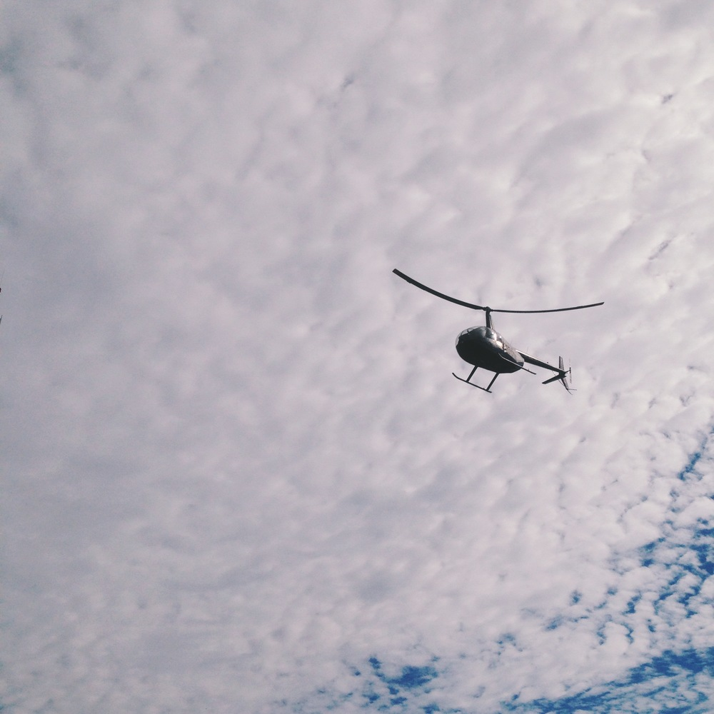 this helicopter flew right over us. freaking me out.