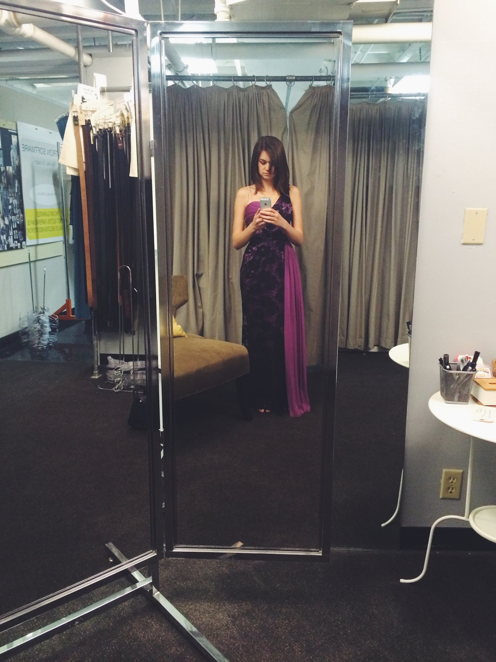 my fitting with the costumers. this purple half-toga dress was very entertaining to me and everyone else on set that day.