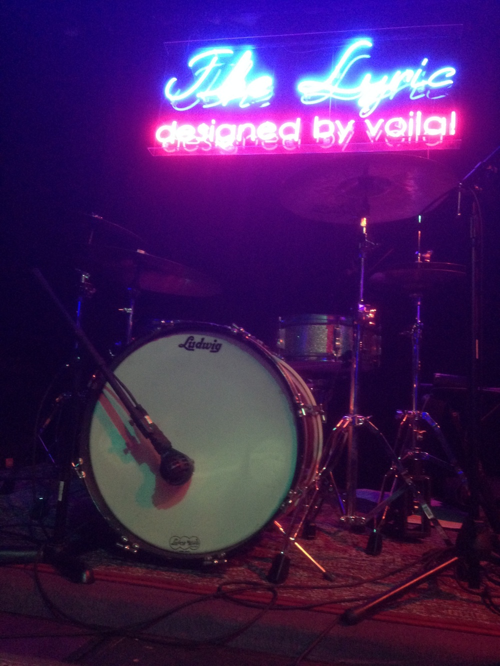 joe's sparkly, vintage drumset looked great in the lighting