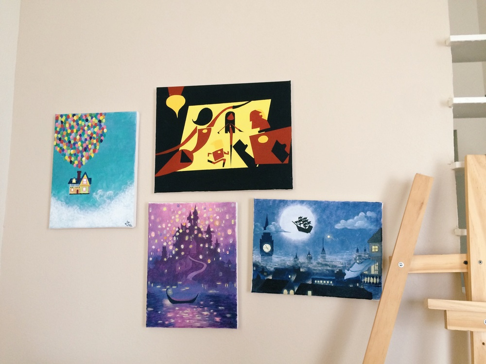 i added the incredibles to my disney paintings. i just now realized that peter pan is crooked.  gah .