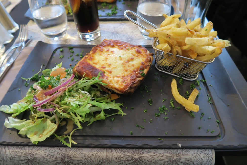 ^ my first authentic croque monsieur. basically a super intense grilled cheese.