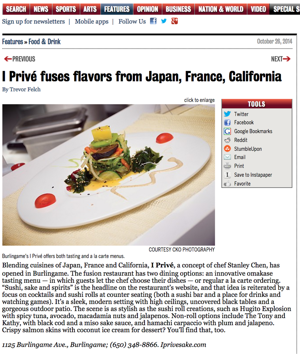 San Francisco Examiner wrote a review on I Privé focused on our tasting and a la carte menus.