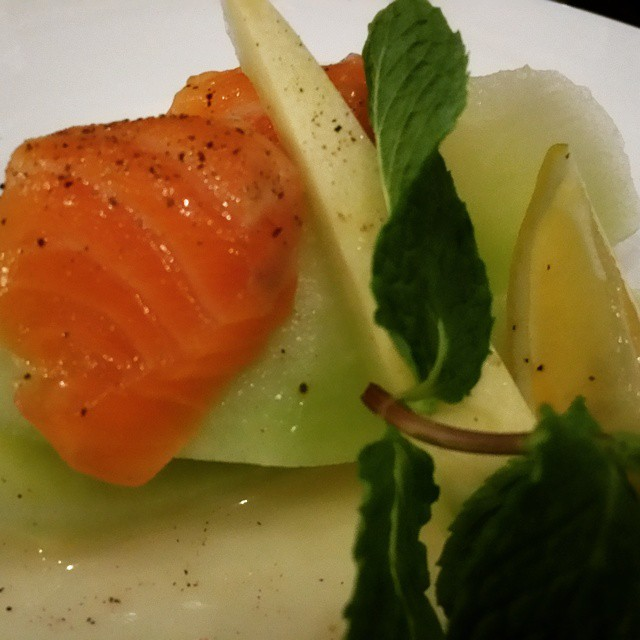 'honey honey' - melon, salmon sashimi, honey sauce #iprive #chefsofinstagram #foodporn