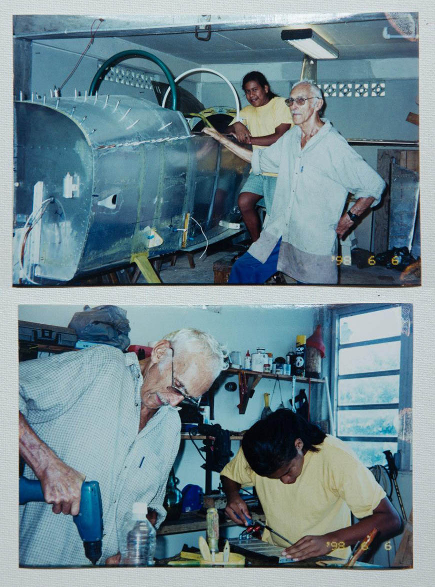 Daniel, an ex Swedish pilot who was 89 at that time and Rainstar who was 13 worked together for four years to build a kit plane in the mountains of Dominica.