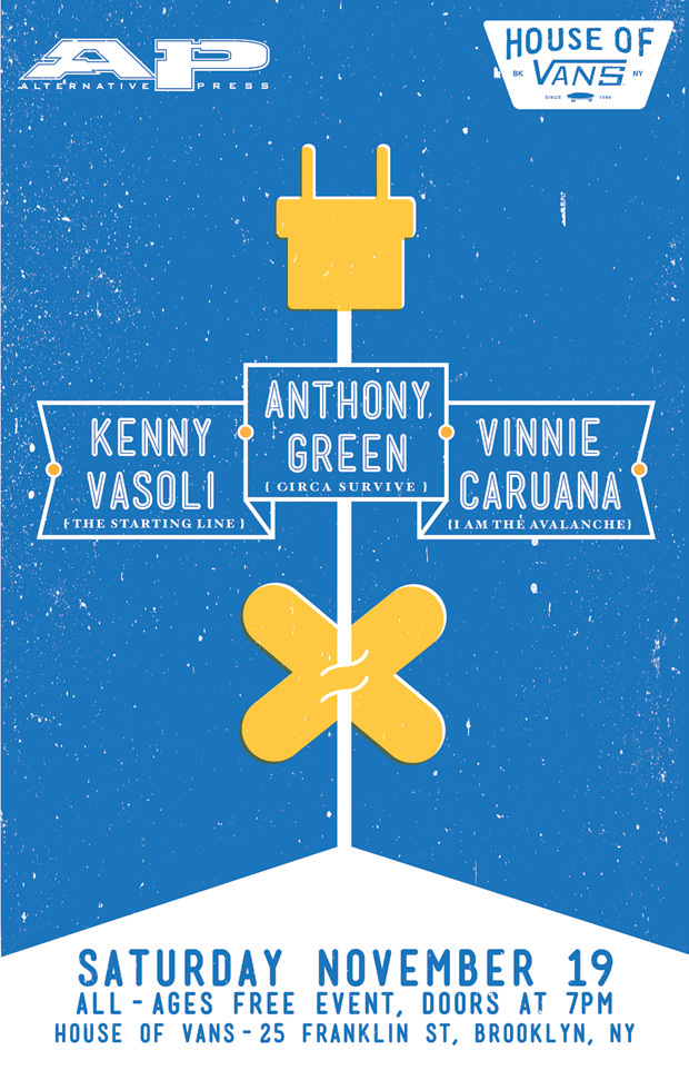 There's going to be a FREE acoustic show on Nov 19 at House of Vans in Brooklyn, featuring Vin, Anthony (Circa Survive) and Kenny (The Starting Line). Pass the news along…